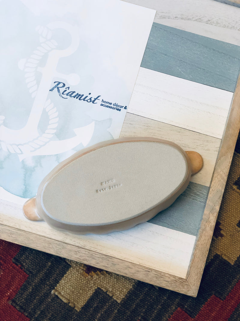Aito Hana Oval Serving Bowl in Sand