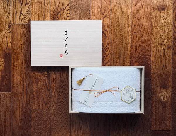 Magokoro Imabari Towel with Wooden Box (Single)
