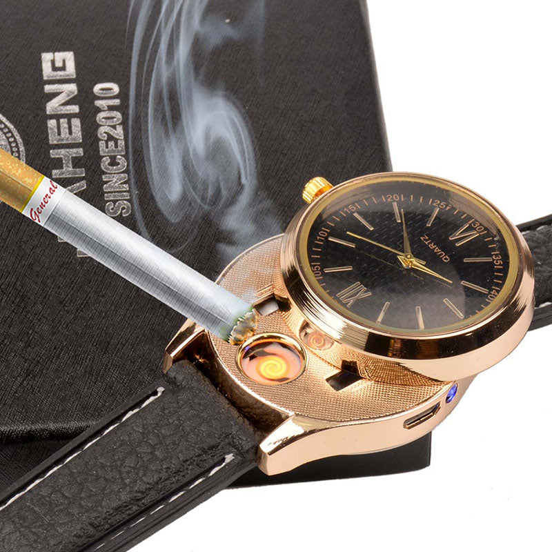 Men's wrist watch with windproof flameless lighter