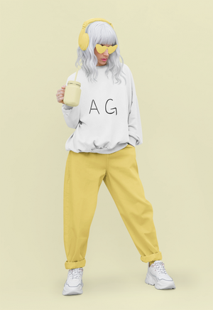Trendy woman wearing AG sweatshirt