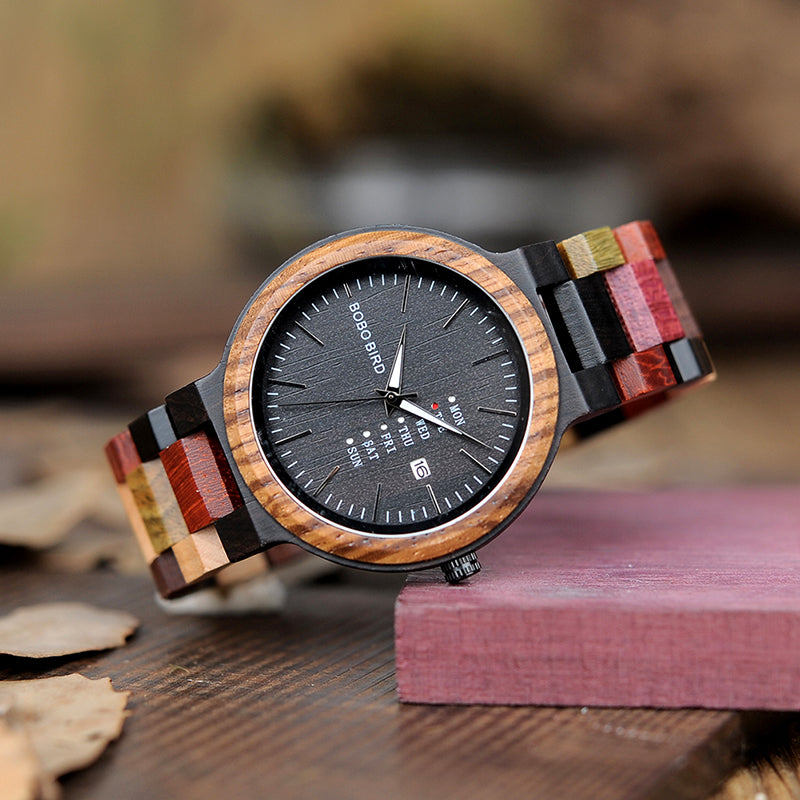 Mens Designer Wooden Wrist Watch