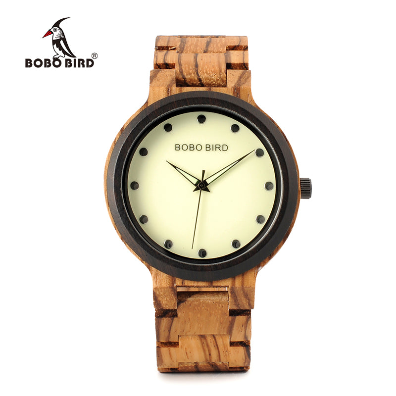 Luminous Hands Dial Wooden Band quartz wrist watch
