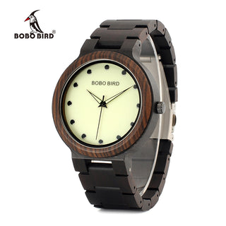 Luminous Hands Dial Wooden Band Quartz Men's Watch