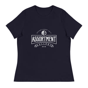 Open image in slideshow, Front view of women's black tee shirt with Assortment Gallery logo