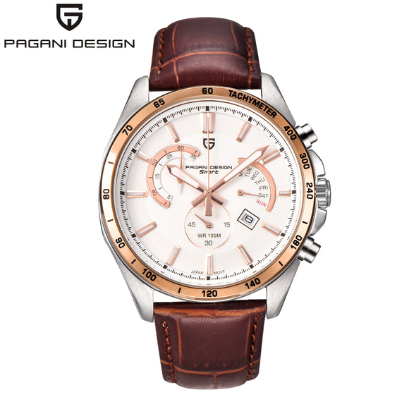 Men's Leather Sport Watch (Waterproof)