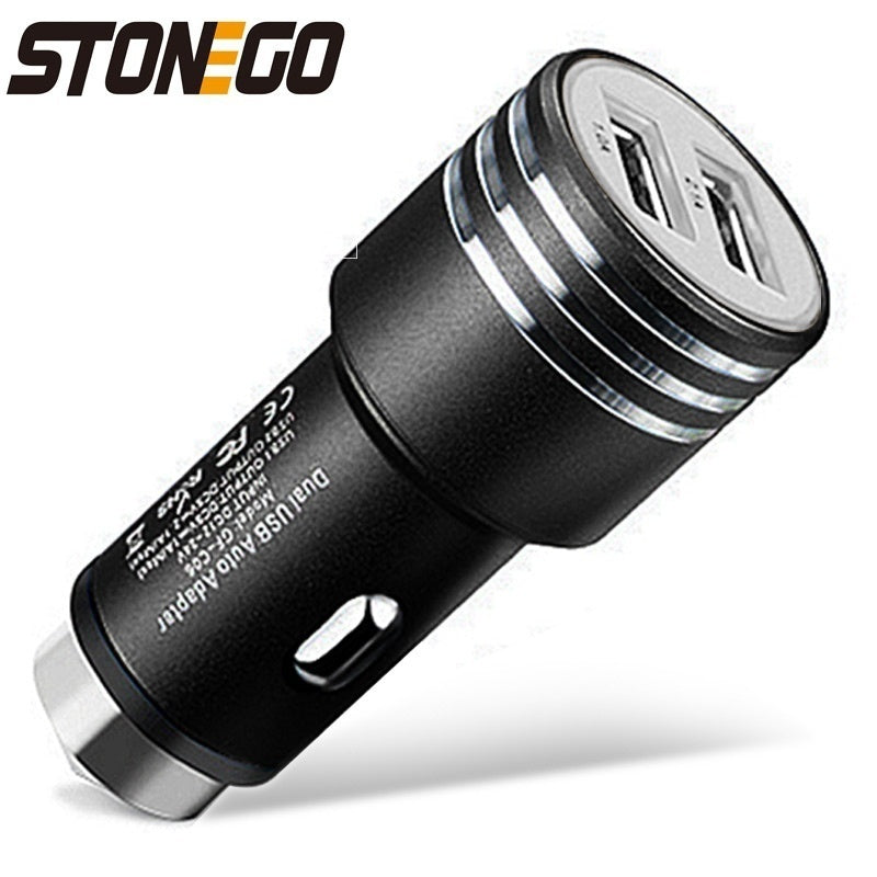 Dual USB Car Charger 2 Ports Adapter with Car Escape Emergency Circular Metal Safety Hammer Function
