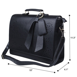 Leather Briefcase Shoulder Business Laptop Messenger Bag