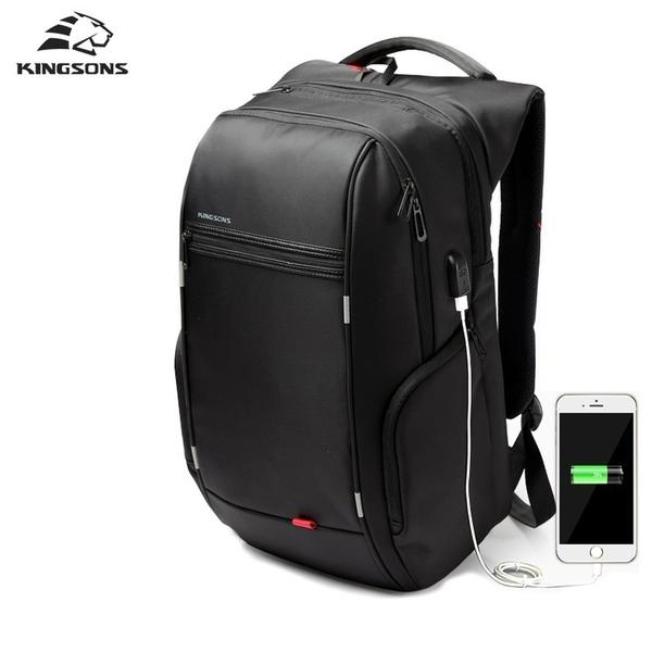 Black backpack external charging 15.6 inches laptop bag