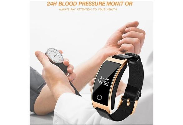Blood pressure smart watch with heart rate and footstep counter