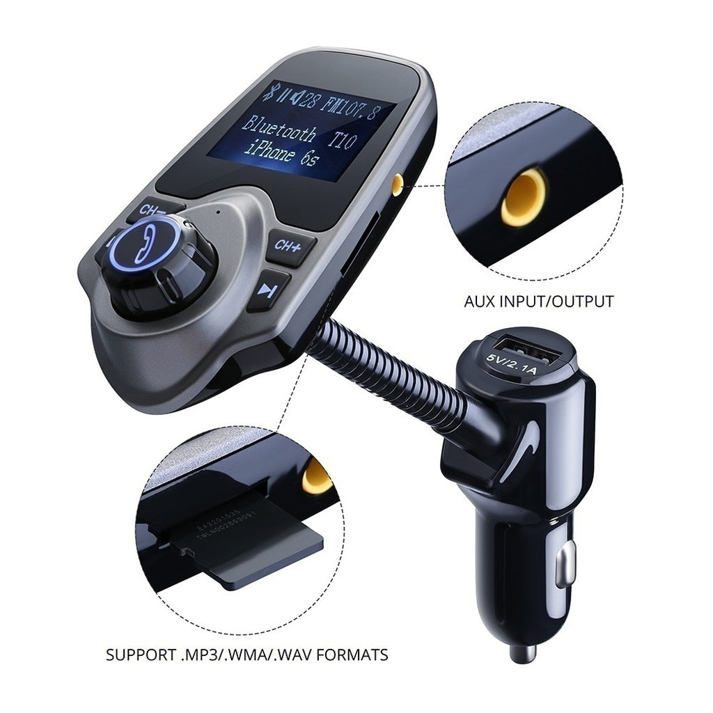 USB Car Charger Wireless With TF Card Slot,