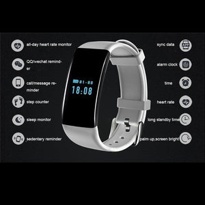 Bluetooth Fitness Smart Watch With Heart Rate Monitor Smartband Waterproof Bracelet