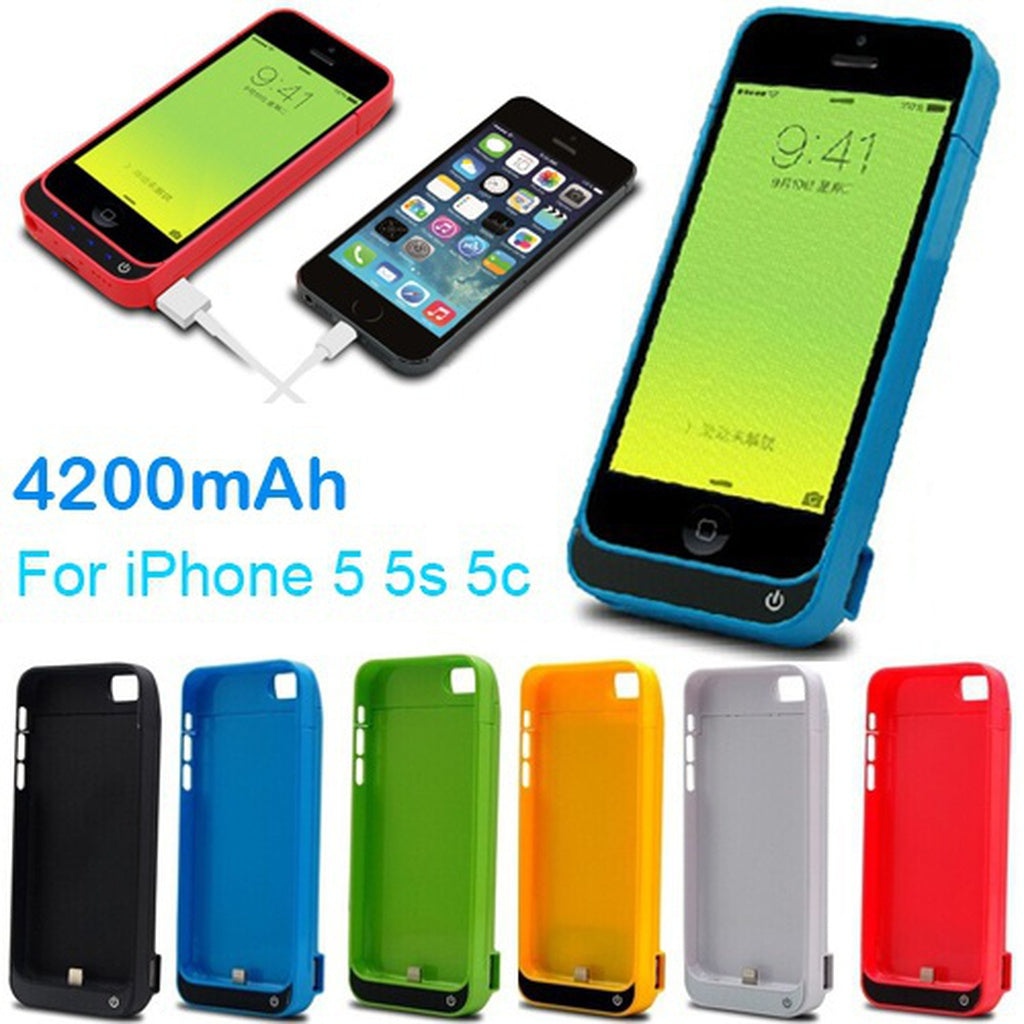 External 4200mAh Power bank case pack backup battery Charger cover for Iphone 5 5S 5C with USB charger cable line