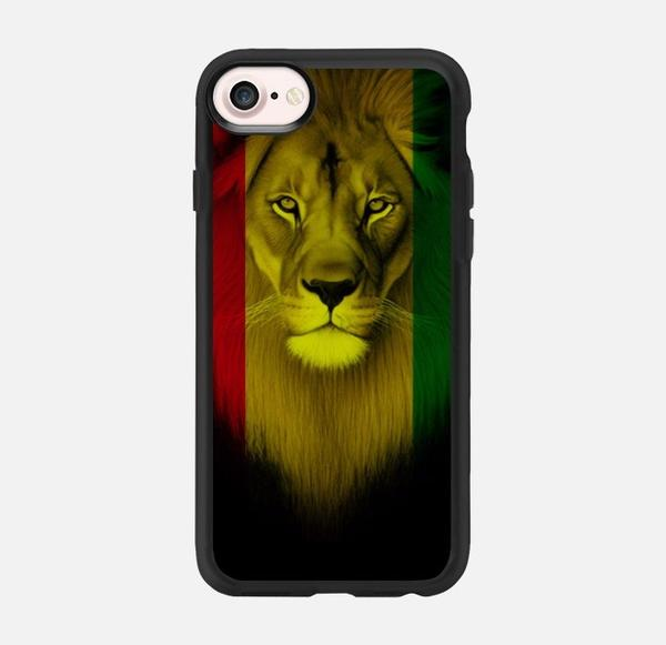 iPhone 7 phone case lion head Rasta colors