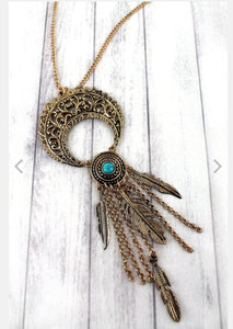 GOLDTONE AND TURQUOISE FEATHER FRINGED CRESCENT MOON PENDANT NECKLACE