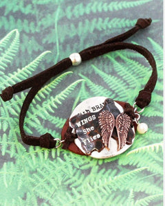 TRI-TONE AND BROWN FAUX LEATHER 'BRAVE WINGS' CORD BRACELET
