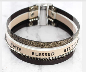 BROWN 'BLESSED BELIEVE FAITH' MULTI-STRAND MAGNETIC BRACELET- AVAILABLE FOR PRESALE UNTIL APRIL 11