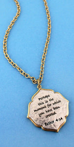 CRAVE WORN TWO-TONE 'ESTHER 4:14' MOROCCAN PENDANT NECKLACE- AVAILABLE FOR PRESALE UNTIL APRIL 15TH