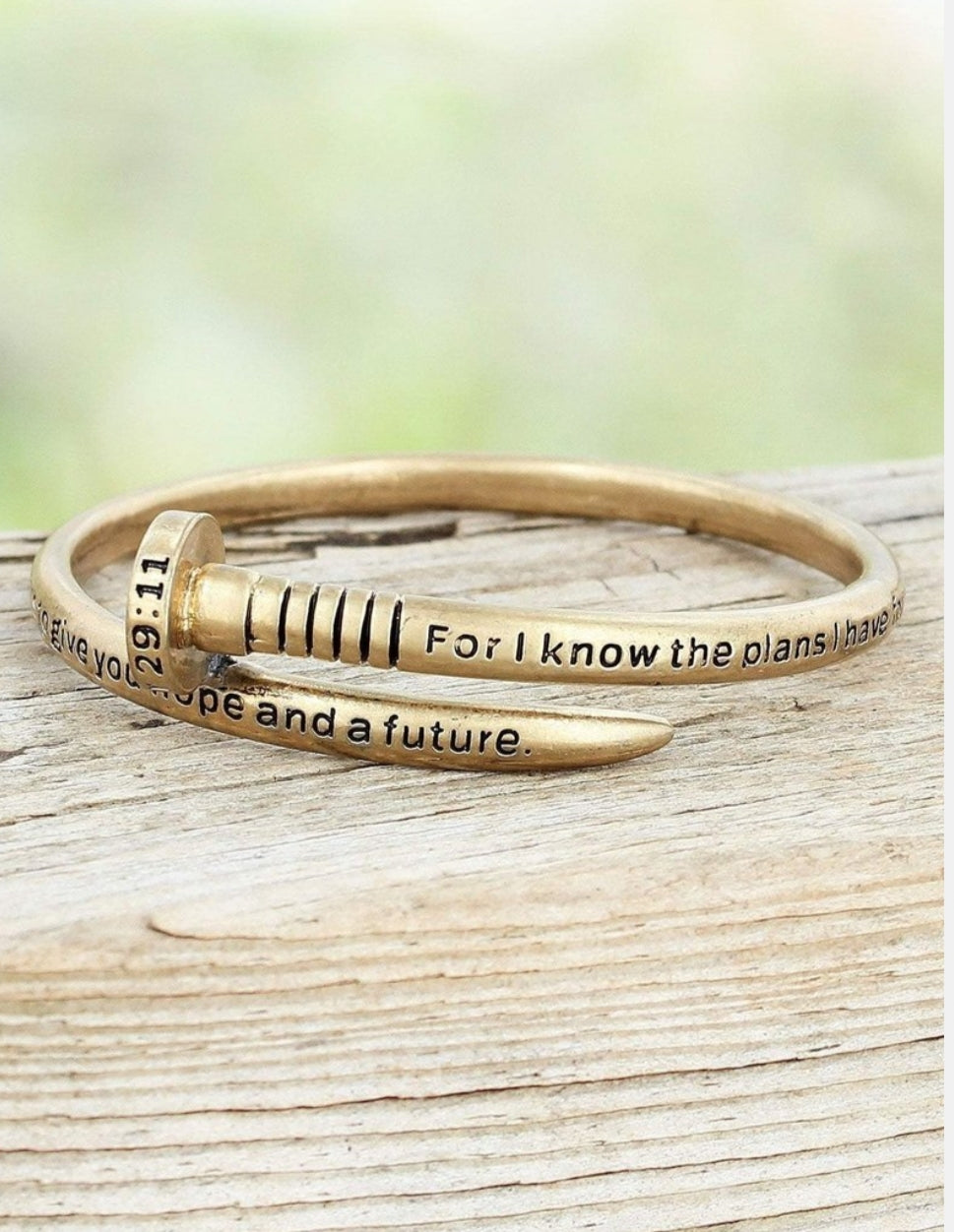 WORN GOLDTONE JEREMIAH 29:11 NAIL BANGLE- AVAILABLE FOR PRESALE UNTIL APRIL 15TH