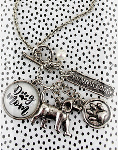 BURNISHED SILVERTONE 'DOG MOM' BUBBLE CHARM PENDANT NECKLACE-AVAILABLE FOR PRESALE UNTIL APRIL 22ND
