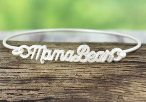 CRAVE WORN SILVERTONE MAMA BEAR SCRIPT BANGLE- AVAILABLE FOR PRESALE UNTIL APRIL 22ND