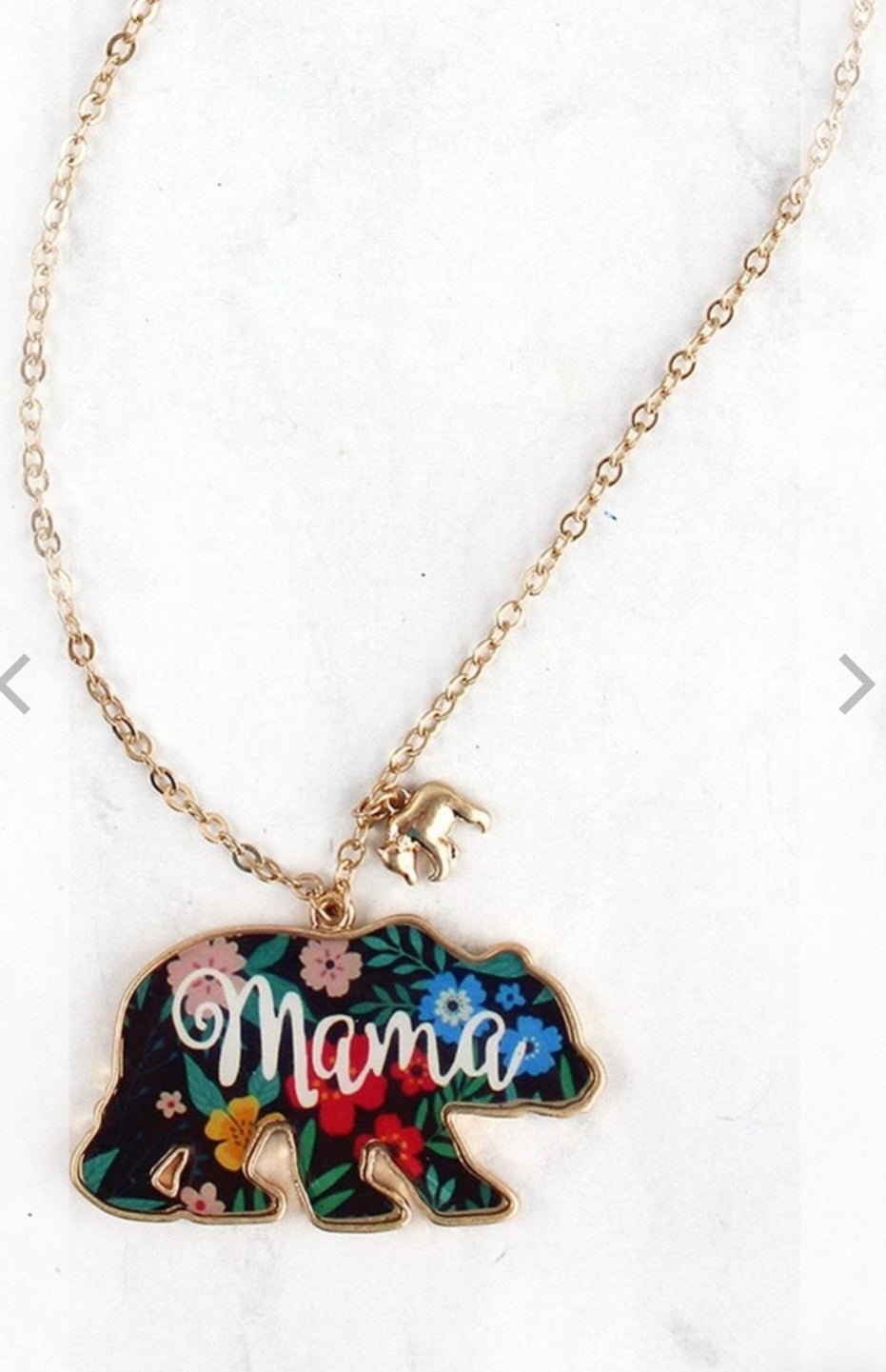 FLORAL MAMA BEAR PENDANT GOLDTONE NECKLACE-AVAILABLE FOR PRESALE UNTIL APRIL 22ND