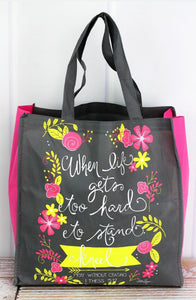 TOO HARD TO STAND GRAY FLORAL TOTE BAG