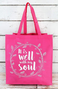 IT IS WELL WITH MY SOUL PINK TOTE BAG-AVAILABLE FOR PRESALE UNTIL APRIL 29TH