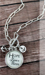 SILVERTONE 'HOPE LIVES HERE' BUBBLE CHARM PENDANT NECKLACE-AVAILABLE FOR PRESALE UNTIL MAY 3RD.