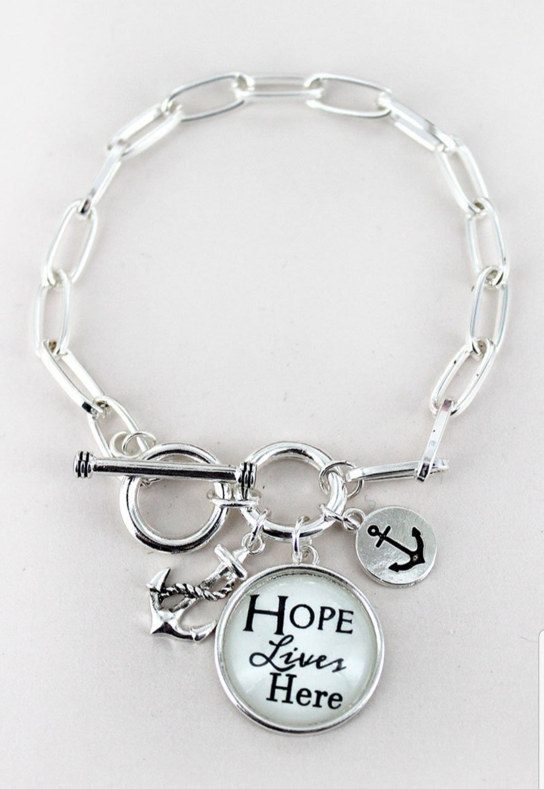 SILVERTONE 'HOPE LIVES HERE' BUBBLE CHARM CLUSTER TOGGLE BRACELET-AVAILABLE FOR PRESALE UNTIL MAY 5TH