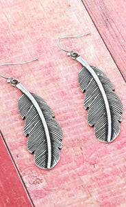 BURNISHED SILVERTONE FEATHER EARRINGS