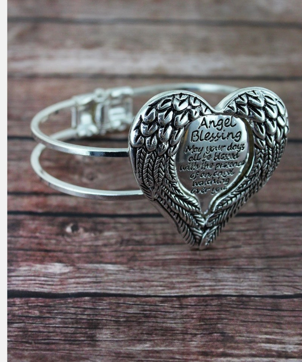 SILVERTONE 'ANGEL BLESSING' WINGED HEART HINGE BRACELET
