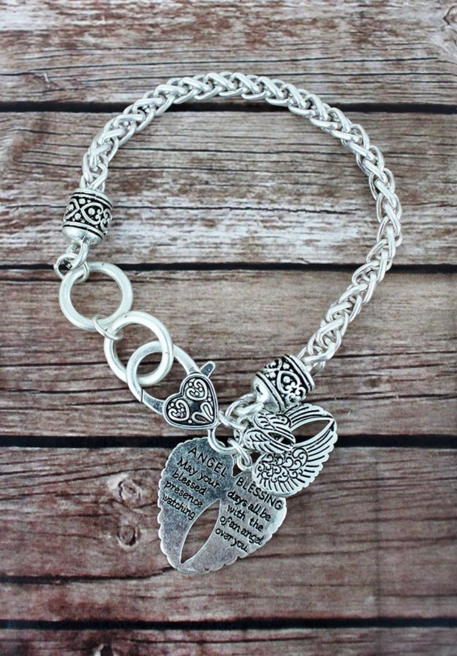 WORN SILVERTONE ANGEL BLESSING WITH WINGS CHARM BRACELET
