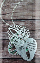 WORN SILVERTONE AND ABALONE ANGEL BLESSING TRIPLE WING NECKLACE