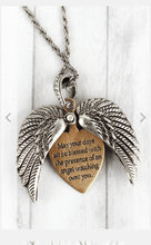WORN TWO-TONE 'ANGEL BLESSING' WINGS MESSAGE LOCKET NECKLACE