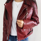 Dresscount Basic Street Women Short PU Leather Jacket