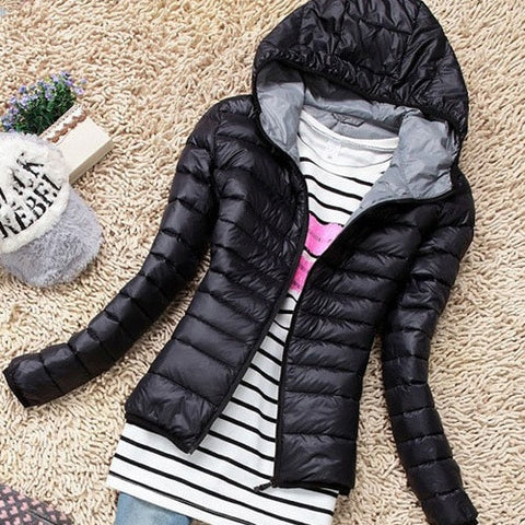 Women's Autumn Winter Basic Jacket Coat Slim Hooded Cotton