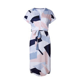 Summer Lady beach out female V neck Maxi Geometric Women's Retro dress With Belt Vestidos