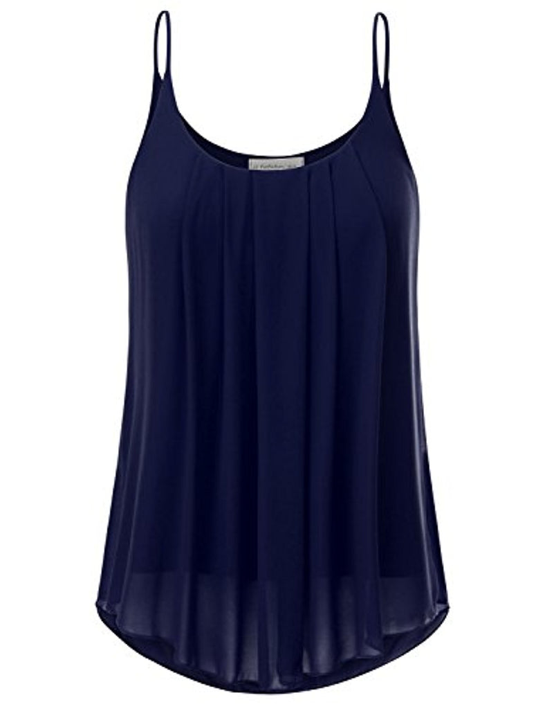 Women's Pleated Chiffon Layered Cami Tank Top