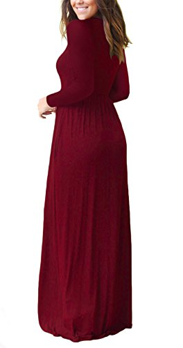 Women Long Sleeve Loose Plain Maxi Dresses Casual Long Dresses With Pockets