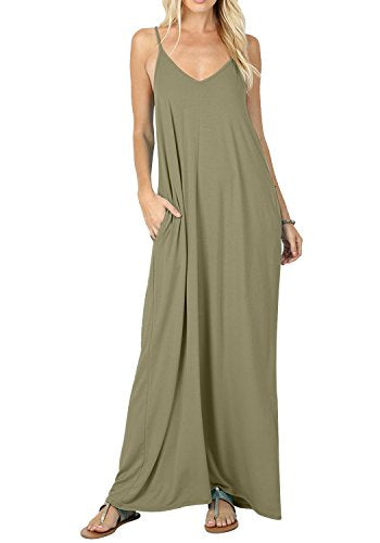 Women's Summer Casual Plain Swing Pockets Loose Beach Cami Maxi Dress