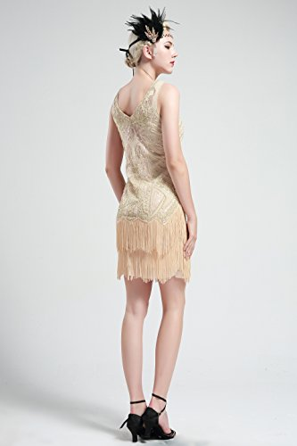 Women's Flapper Dresses 1920s V Neck Beaded Fringed Great Gatsby Dress