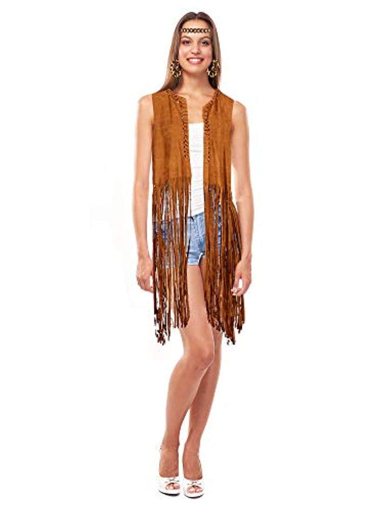 4 Pieces Women Hippie Costume Set Fringe Vest Faux Suede Tassels Vest