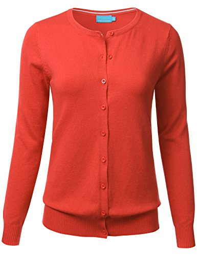 Women Button Down Crew Neck Long Sleeve Soft Knit Cardigan Sweater (S-3X)