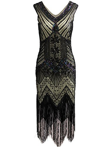 Women 1920s Gastby Sequin Art Nouveau Embellished Fringed Flapper Dress