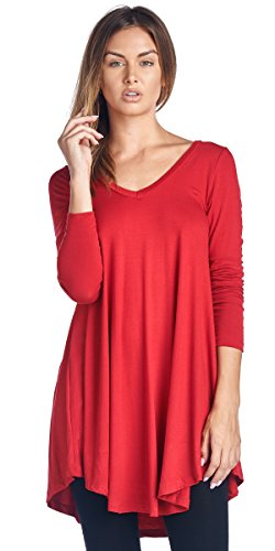 Women's Tunic Tops For Leggings - Long Sleeve Vneck Shirt - Regular and Plus Size - Made in USA