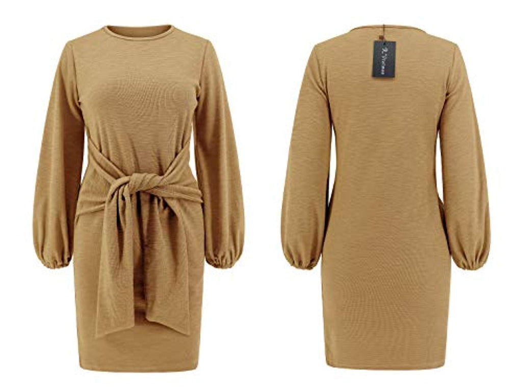 Women's Autumn Winter Cotton Long Sleeves Elegant Knitted Bodycon Tie Waist Sweater Pencil Dress