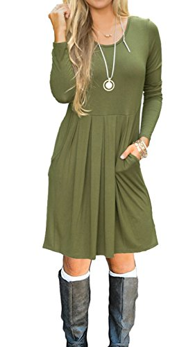 Women's Long Sleeve Pleated Loose Swing Casual Dress With Pockets Knee Length