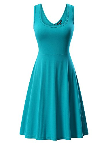 Women's Sleeveless Scoop Neck Summer Beach Midi A Line Tank Dress
