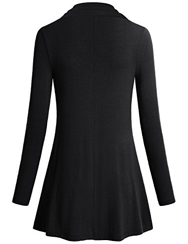 Women's Long Sleeve Cowl Neck Form Fitting Casual Tunic Top Blouse