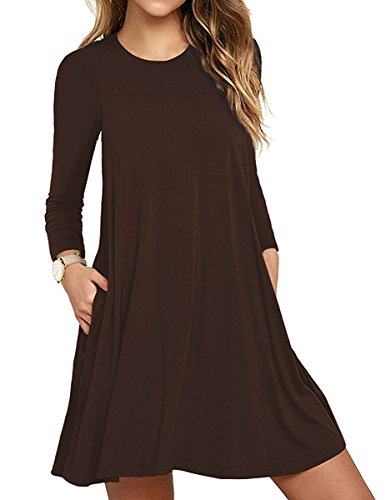 Women's Long Sleeve Pocket Casual Loose T-Shirt Dress